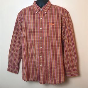 US Polo Assn Yellow Red Plaid Button Down L
